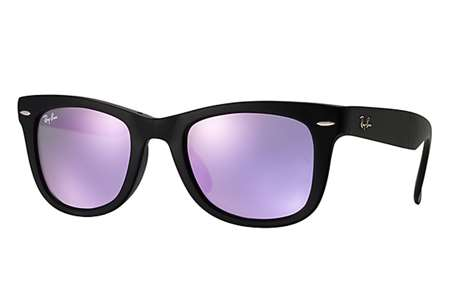 1a9ec557a Sunglasses - Ray-Ban RB4105-601S4K - Folding Wayfarer - Matte Black w/Grey  Mirror Lilac lens