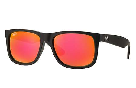 bac322f836 Sunglasses - Ray-Ban RB4165-622 6Q - Justin - Rubber Black w Brown Mirror  Orange lens