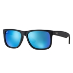 RB4165F-622/55 Justin - Black Rubber w/Green Mirror Blue lens