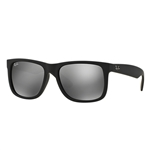 RB4165F-622/6G Justin - Rubber Black w/Grey Mirror Silver lens