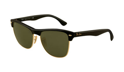 RB4175-877 Clubmaster Oversized - Demi Shiny Black/arista w/Crystal Green lens