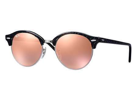 2604949eec Sunglasses - Ray-Ban RB4246-1197Z2 - Clubround - Top Wrinkled Black On Black  w Brown Mirror Pink lens