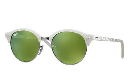 55b66a7b36 Sunglasses - Ray-Ban RB4246-988 2X - Clubround - Top Wrinkled White On  White w Green Mirror Green lens