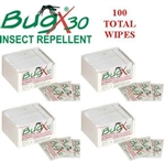 BugX 30 12640 Insect Repellent with DEET, 100 Total Wipes - 4 Boxes