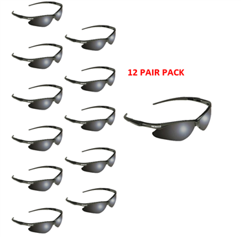 Jackson Nemesis 22475 Safety Glasses, Black Frame Smoke Lens Anti Fog - 12 Pair Pack