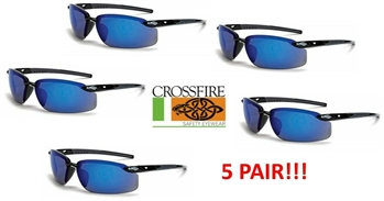 Crossfire ES5 2968 Safety Sunglasses With Black Frame Blue Lens - 5 Total Pairs