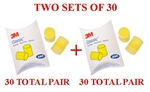 3M EAR Classic Uncorded Foam Pillow Pack 310-1001 - 2 SETS OF 30 PAIR