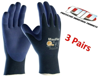 PIP 34-274 MaxiFlex Elite Lightweight Gloves, Nitrile Foam Grip - 3 Pair Pack
