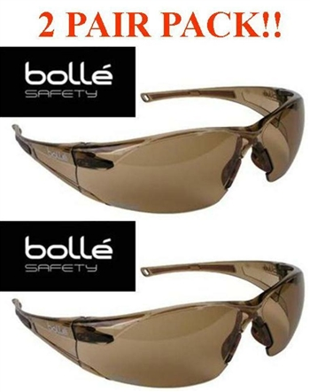 Bolle Rush Safety Glasses Twilight Lens Anti-Fog Lens (TWO PAIR PACK)