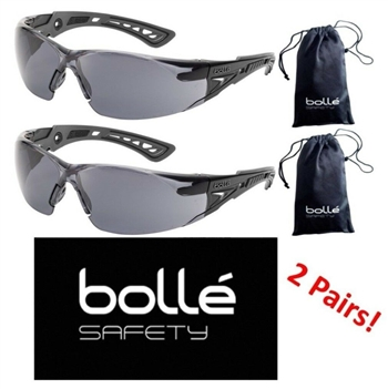 Bolle 40208 Rush+ Safety Glasses with Black/Gray Temples and Smoke Lens - 2 Pair