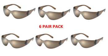 Gateway Safety 466-M Star Lite Mocha Lens, Safety Glasses - 6 Pair Pack