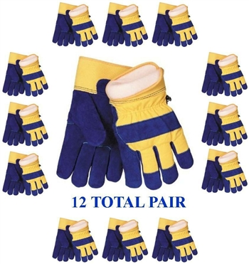 Waterproof Insulated Cowhide Winter Work Glove, 3M 100gm Thinsulate Lining - 12 Pair Pack