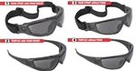 Radians Cuatro CT1-21  4-in-1 Foam Lined Safety Eyewear With Gray Lens