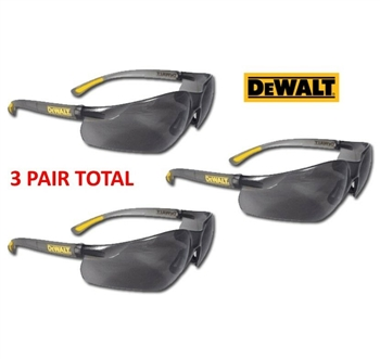 Dewalt DPG52-2D Contractor Safety Glasses With Smoke Lens, 3 PAIR TOTAL