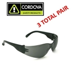 Cordova E04B20 Gray Bulldog Wrap Around Safety Glasses - 3 Total Pair