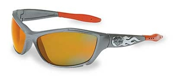 HD1003 Harley Davidsion Safety Sunglasses. Gunmetal Frame W/Orange Mirror Lens