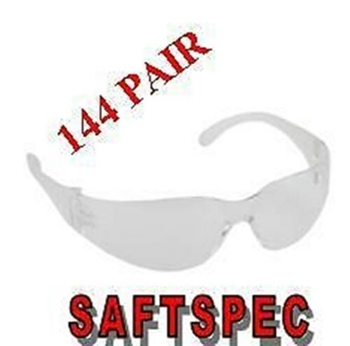 Clear Lens Wrap Around Safety Glasses - 144 Pair Lots - SAFTSPEC Eyewear