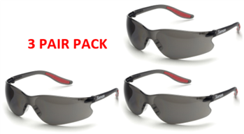 Elvex SG-14G Black Temples, Grey Lens Xenon Safety Glasses - 3 Pair Pack