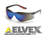 Elvex SG-14M Xenon Black Temples, Blue Mirror Lens Safety Glasses