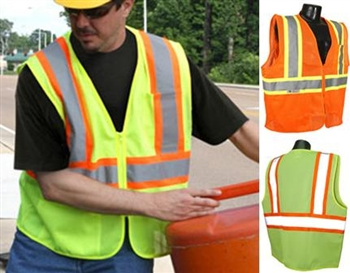 SV22-2ZGM  TT-MESH Class 2 ANSI Two Tone Mesh Safety Traffic Vest