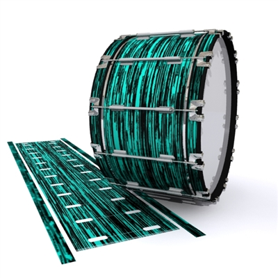 Dynasty 1st Generation Bass Drum Slip - Chaos Brush Strokes Aqua and Black (Blue) (Green)