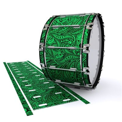 Dynasty 1st Generation Bass Drum Slip - Dark Green Paisley (Themed)