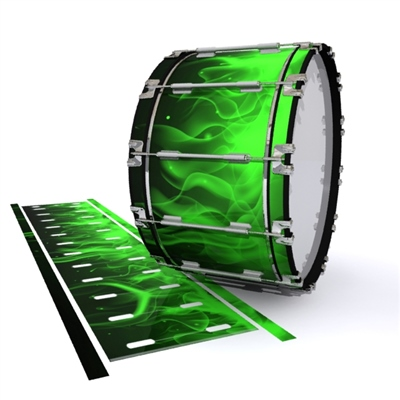 Dynasty 1st Generation Bass Drum Slip - Green Flames (Themed)
