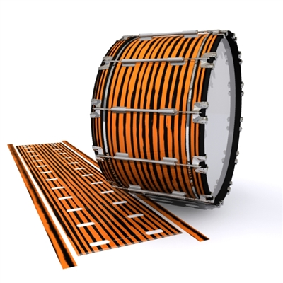 Dynasty 1st Generation Bass Drum Slip - Lateral Brush Strokes Orange and Black (Orange)