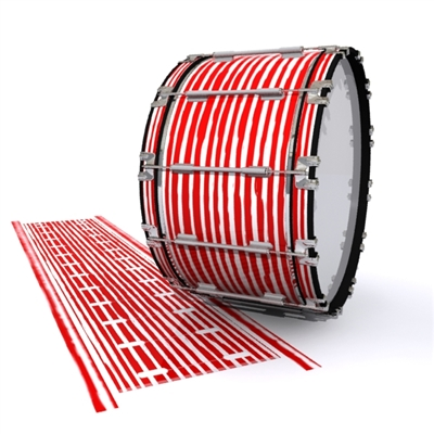 Dynasty 1st Generation Bass Drum Slip - Lateral Brush Strokes Red and White (Red)
