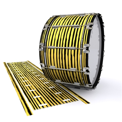 Dynasty 1st Generation Bass Drum Slip - Lateral Brush Strokes Yellow and Black (Yellow)