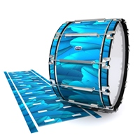 Dynasty Custom Elite Bass Drum Slip - Blue Feathers (Themed)