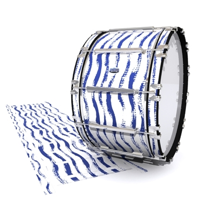 Dynasty Custom Elite Bass Drum Slip - Wave Brush Strokes Navy Blue and White (Blue)