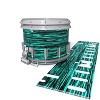 Dynasty DFX 1st Gen. Snare Drum Slip  - Chaos Brush Strokes Aqua and Black (Green) (Blue)