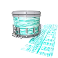 Dynasty DFX 1st Gen. Snare Drum Slip  - Chaos Brush Strokes Aqua and White (Green) (Blue)