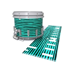 Dynasty DFX 1st Gen. Snare Drum Slip  - Lateral Brush Strokes Aqua and Black (Green) (Blue)