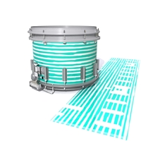 Dynasty DFX 1st Gen. Snare Drum Slip  - Lateral Brush Strokes Aqua and White (Green) (Blue)