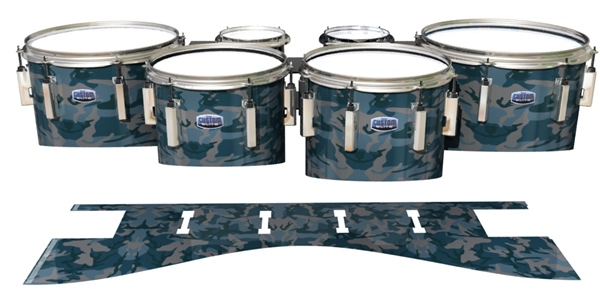 Dynasty 1st Generation Tenor Drum Slips - Blue Slate Traditional Camouflage (Blue)