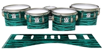 Ludwig Ultimate Series Tenor Drum Slips - Chaos Brush Strokes Aqua and Black (Green) (Blue)