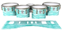 Ludwig Ultimate Series Tenor Drum Slips - Chaos Brush Strokes Aqua and White (Green) (Blue)