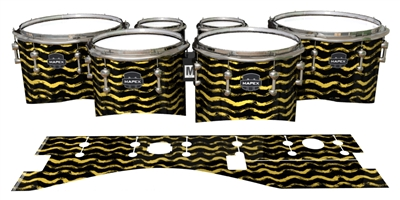 Mapex Quantum Tenor Drum Slips - Wave Brush Strokes Yellow and Black (Yellow)