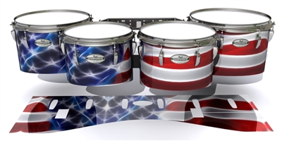 Pearl Championship Maple Tenor Drum Slips - Stylized American Flag