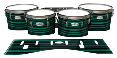 Pearl Championship Maple Tenor Drum Slips - Aqua Horizon Stripes (Aqua)
