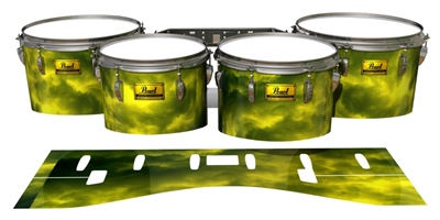 Pearl Championship Maple Tenor Drum Slips (Old) - Yellow Smokey Clouds (Themed)