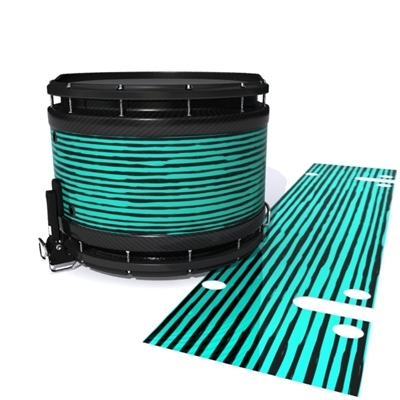 System Blue Professional Series Snare Drum Slip - Lateral Brush Strokes Aqua and Black (Green) (Blue)