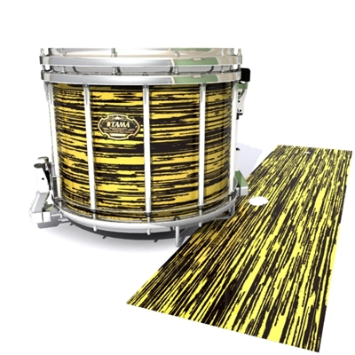Tama Marching Snare Drum Slip - Chaos Brush Strokes Yellow and Black (Yellow)