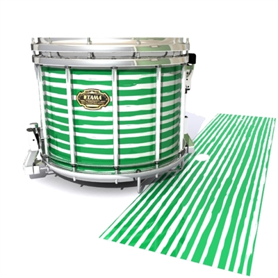 Tama Marching Snare Drum Slip - Lateral Brush Strokes Green and White (Green)