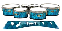 Tama Marching Tenor Drum Slips - Blue Feathers (Themed)