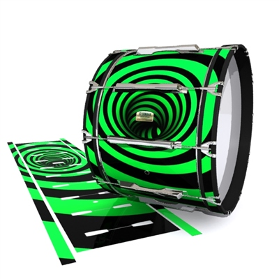 Yamaha 8200 Field Corps Bass Drum Slip - Green Vortex Illusion (Themed)