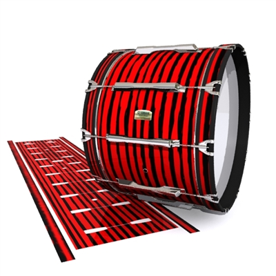 Yamaha 8200 Field Corps Bass Drum Slip - Lateral Brush Strokes Red and Black (Red)