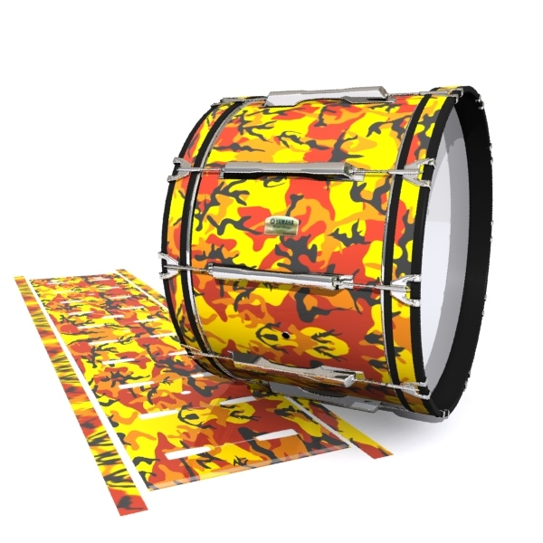 Yamaha 8200 Field Corps Bass Drum Slip - November Fall Traditional Camouflage (Red) (Yellow)